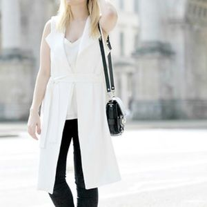Zara White Long Vest with Tie